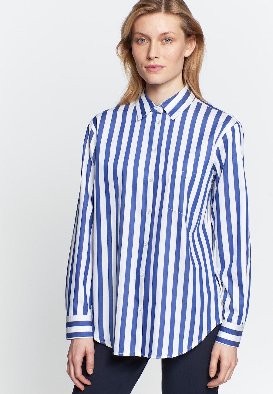 Satin Hemdbluse aus 100% Baumwolle in Mittelblau |  Seidensticker Onlineshop