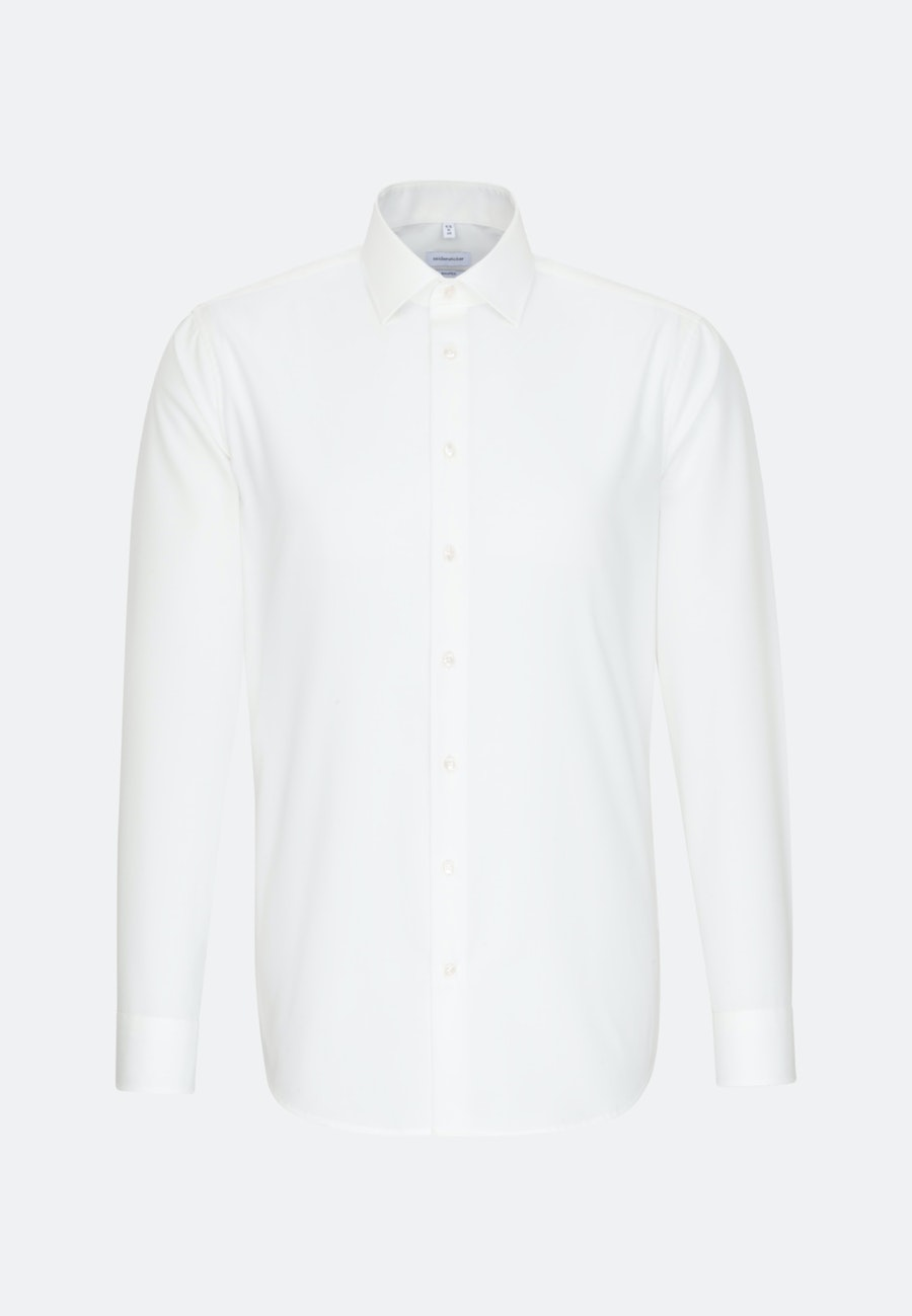 Non-iron Poplin Business Shirt in Shaped with Kent-Collar in Ecru |  Seidensticker Onlineshop