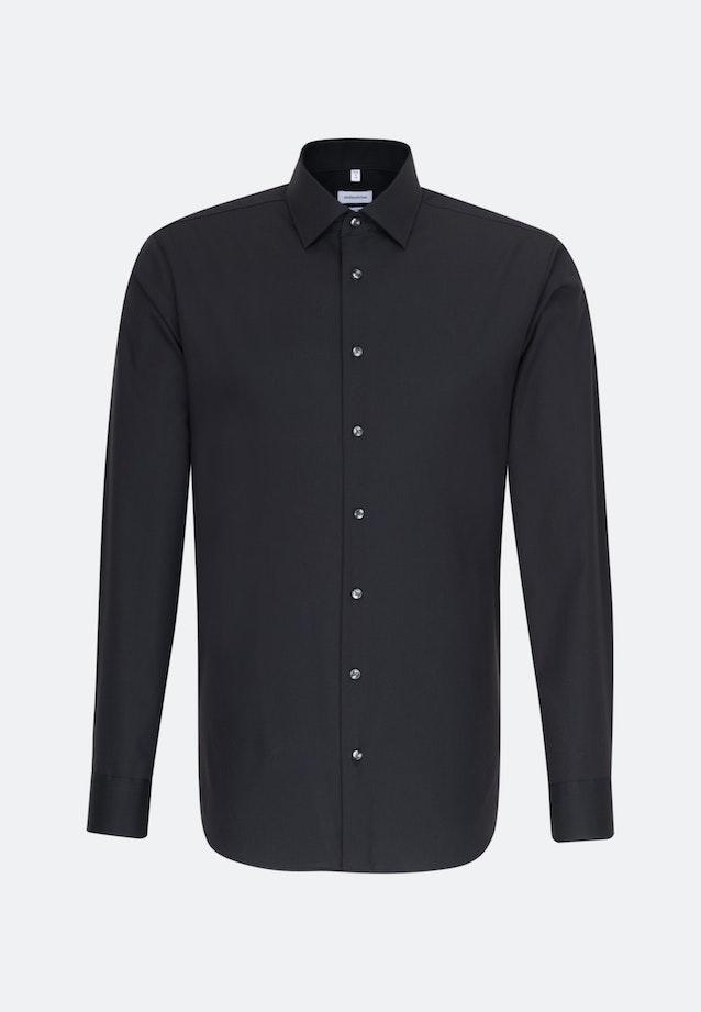 Bügelfreies Popeline Business Hemd in Shaped mit Kentkragen in Schwarz    Seidensticker Onlineshop