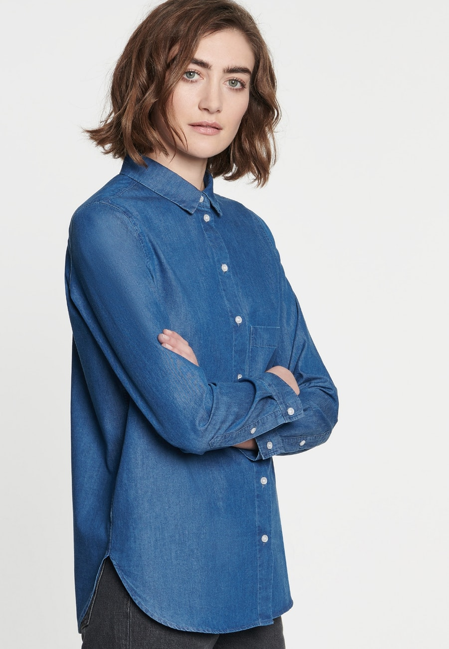 Denim Shirt Blouse made of 100% Cotton in Medium blue |  Seidensticker Onlineshop