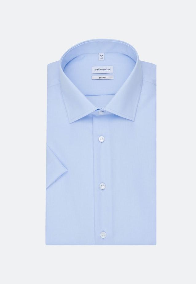 Bügelfreies Popeline Kurzarm Business Hemd in Shaped mit Kentkragen in Mittelblau    Seidensticker Onlineshop