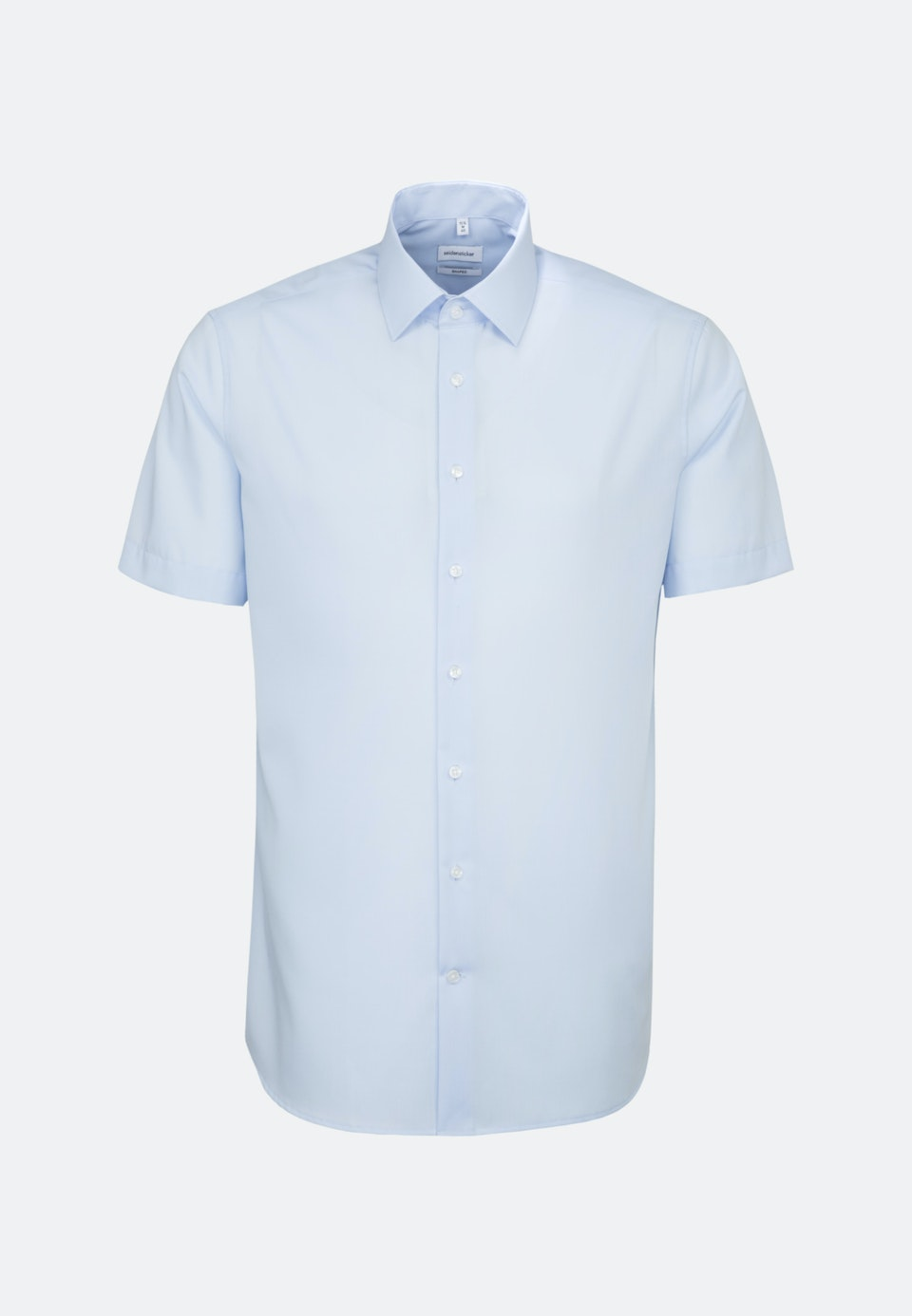 Non-iron Popeline Short sleeve Business Shirt in Shaped with Kent-Collar in Medium blue |  Seidensticker Onlineshop