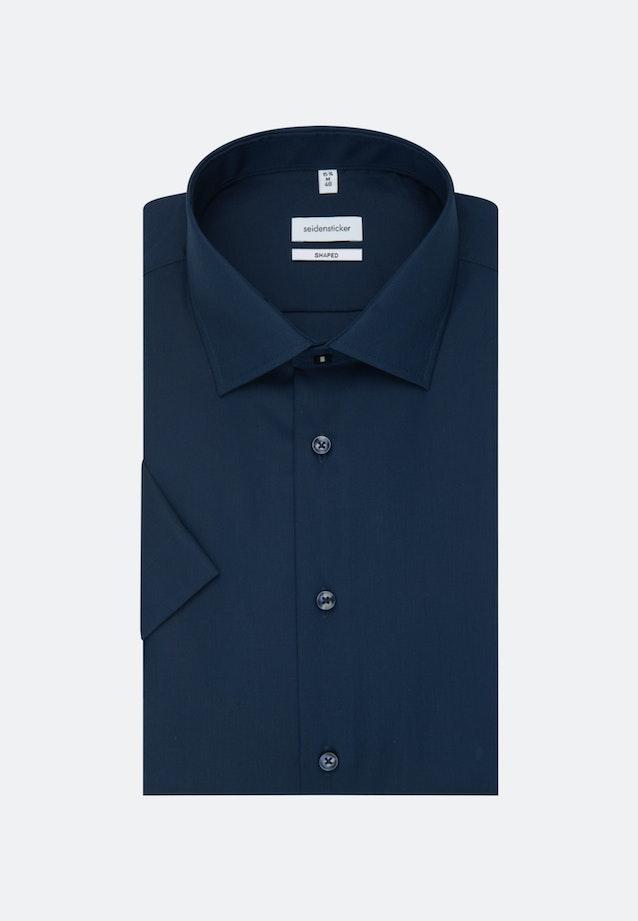 Bügelfreies Popeline Kurzarm Business Hemd in Shaped mit Kentkragen in Dunkelblau    Seidensticker Onlineshop
