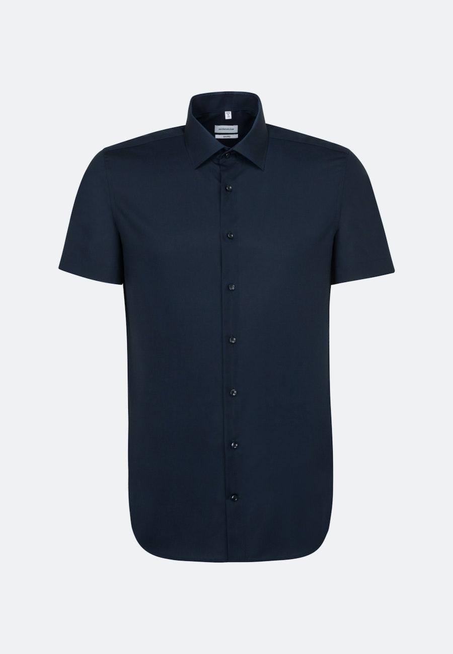 Non-iron Poplin Short sleeve Business Shirt in Shaped with Kent-Collar in Dark blue    Seidensticker Onlineshop