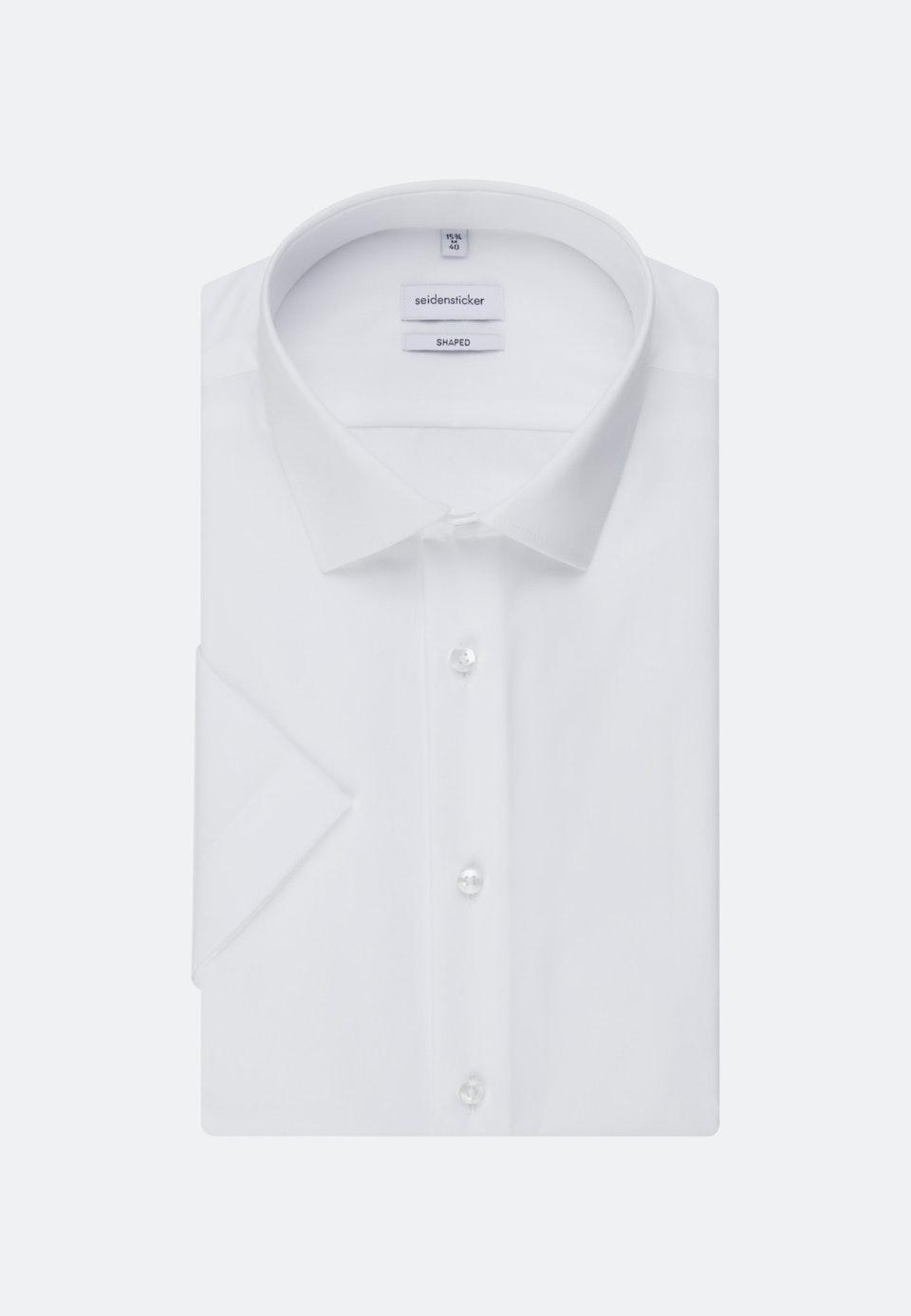 Bügelfreies Popeline Kurzarm Business Hemd in Shaped mit Kentkragen in Weiß    Seidensticker Onlineshop