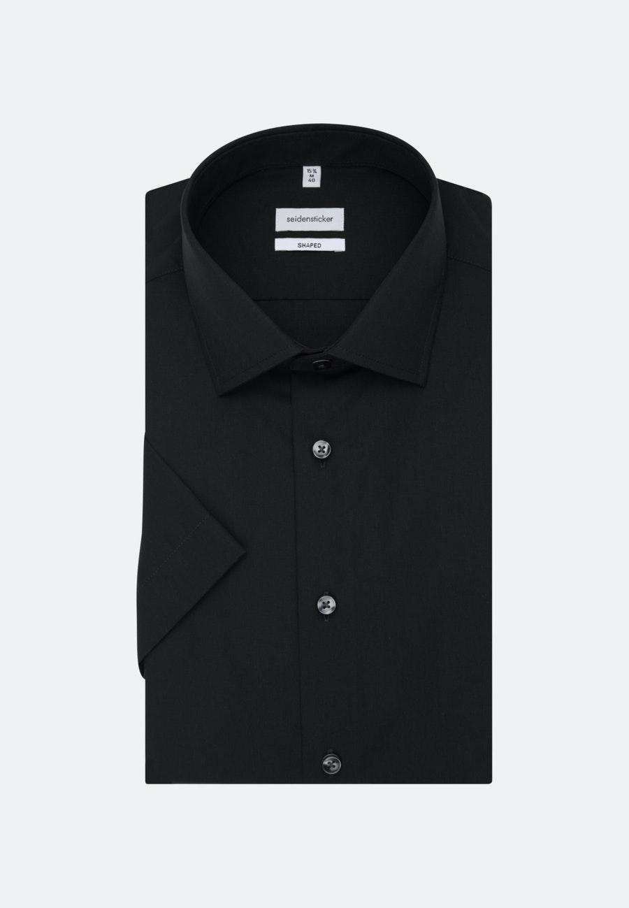 Non-iron Popeline Short sleeve Business Shirt in Shaped with Kent-Collar in Black |  Seidensticker Onlineshop