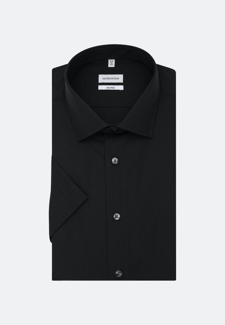 Bügelfreies Popeline Kurzarm Business Hemd in Shaped mit Kentkragen in Schwarz    Seidensticker Onlineshop