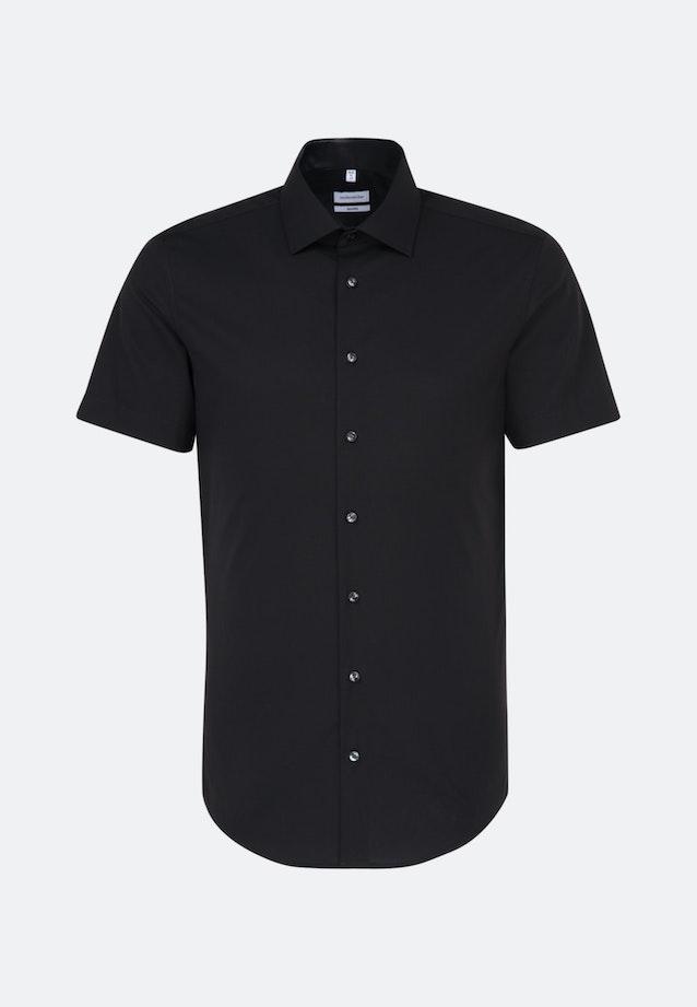 Non-iron Popeline Short sleeve Business Shirt in Shaped with Kent-Collar in Black |  Seidensticker Onlineshop
