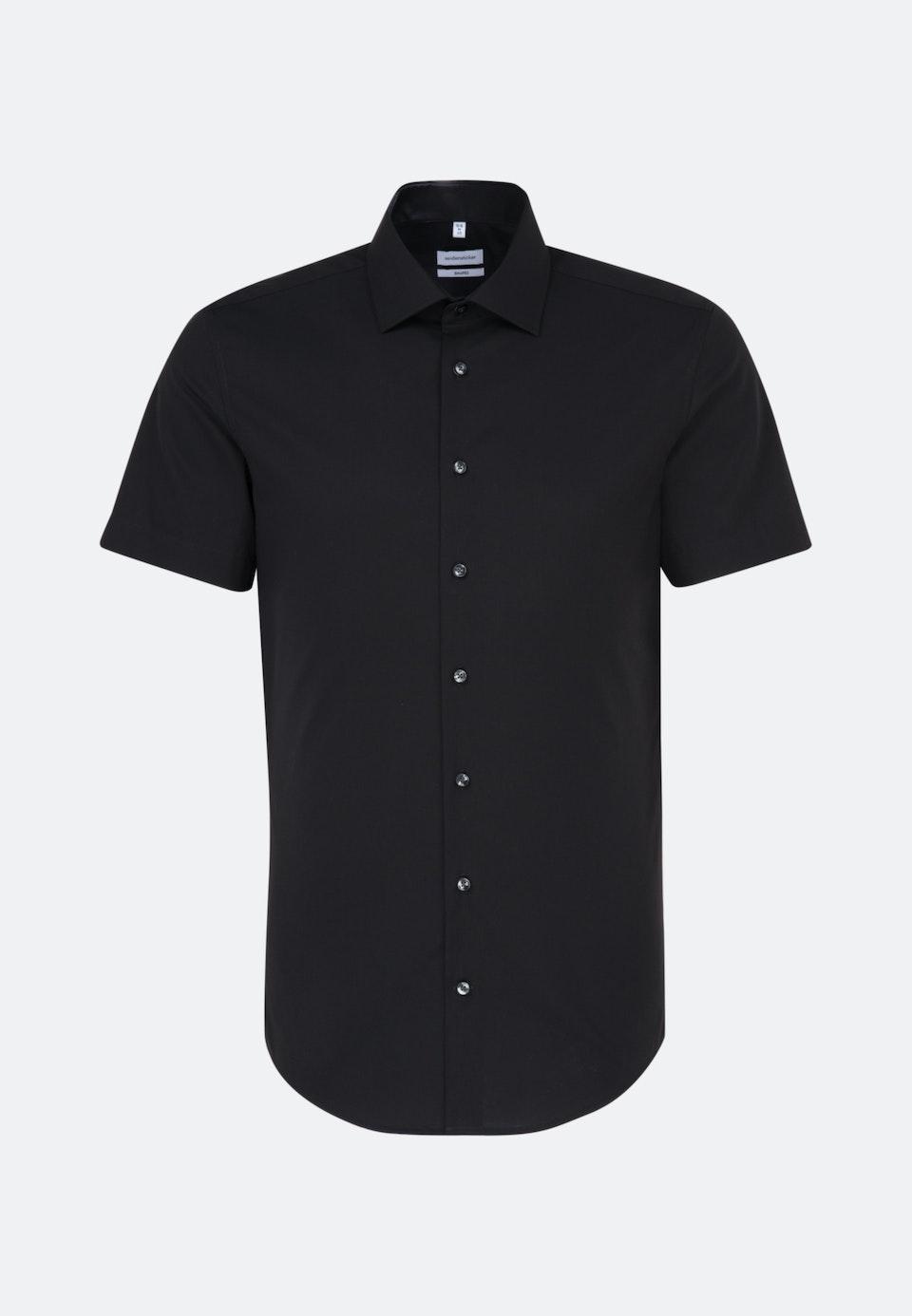 Non-iron Poplin Short sleeve Business Shirt in Shaped with Kent-Collar in Black |  Seidensticker Onlineshop