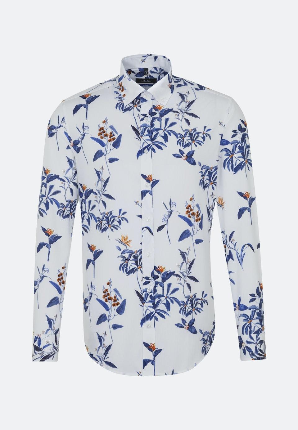 Bügelleichtes Popeline Business Hemd in Shaped mit Button-Down-Kragen in Dunkelblau    Seidensticker Onlineshop