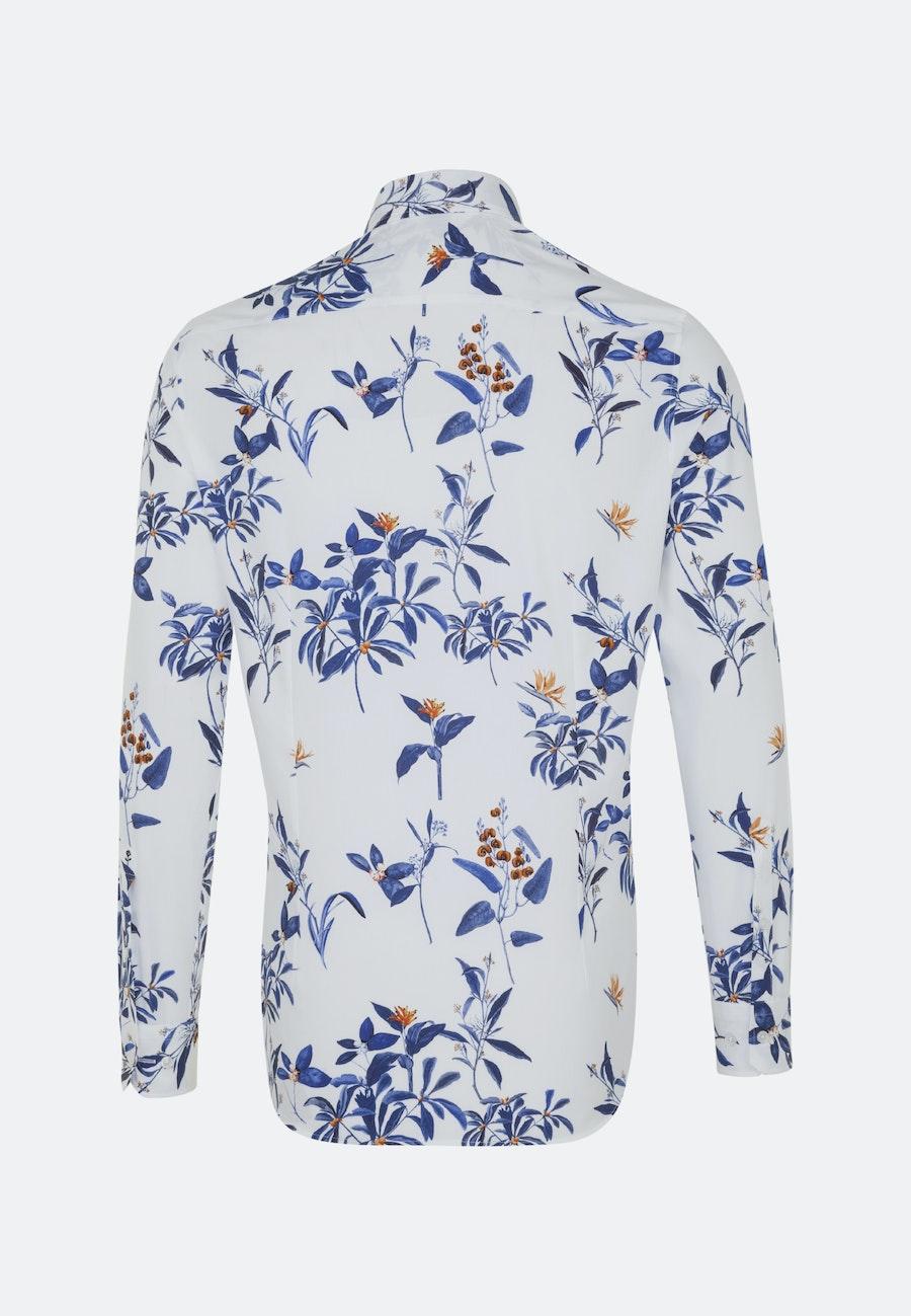Easy-iron Popeline Business Shirt in Shaped with Button-Down-Collar in Dark blue    Seidensticker Onlineshop