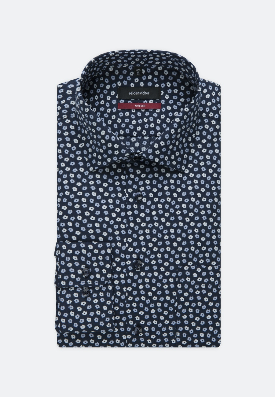 Easy-iron Poplin Business Shirt in Regular with Kent-Collar in Dark blue |  Seidensticker Onlineshop