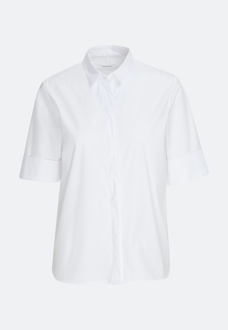 Short sleeve Popeline Shirt Blouse made of cotton blend in White |  Seidensticker Onlineshop