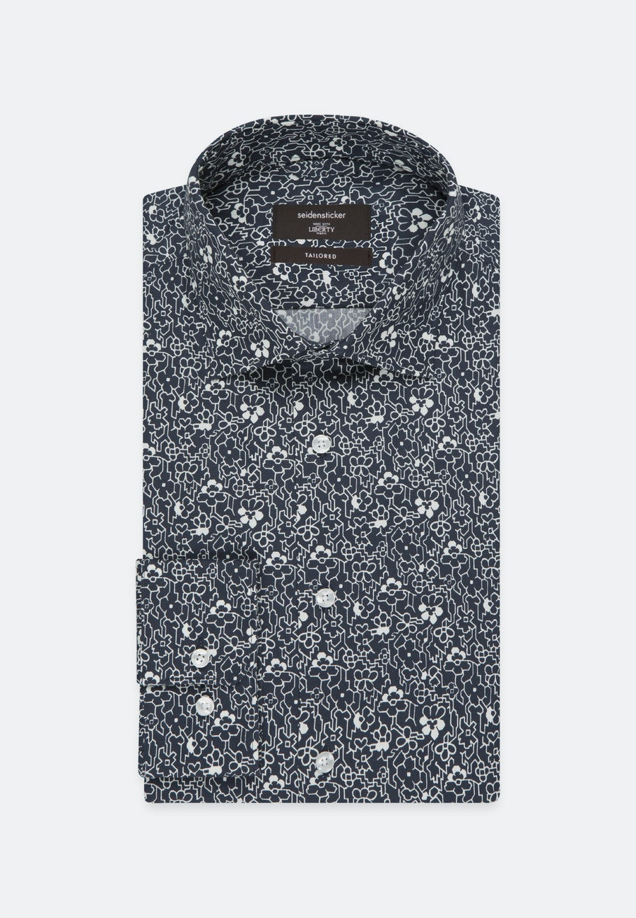 Easy-iron Poplin Business Shirt in Shaped with Kent-Collar in Dark blue |  Seidensticker Onlineshop