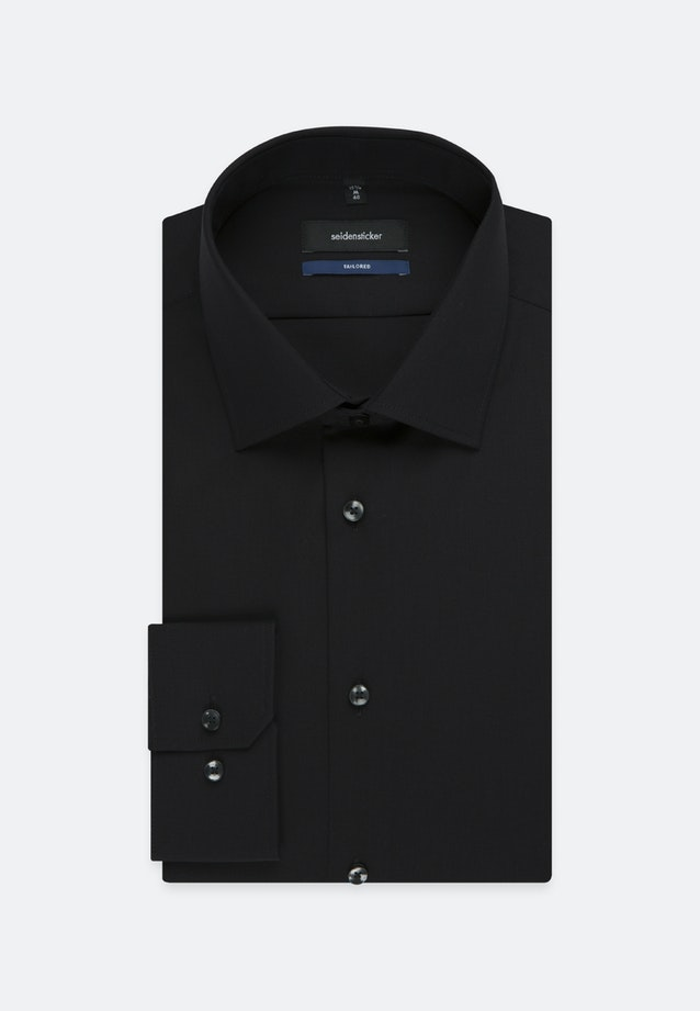 Non-iron Popeline Business Shirt in Shaped with Kent-Collar and extra long sleeve in Schwarz |  Seidensticker Onlineshop