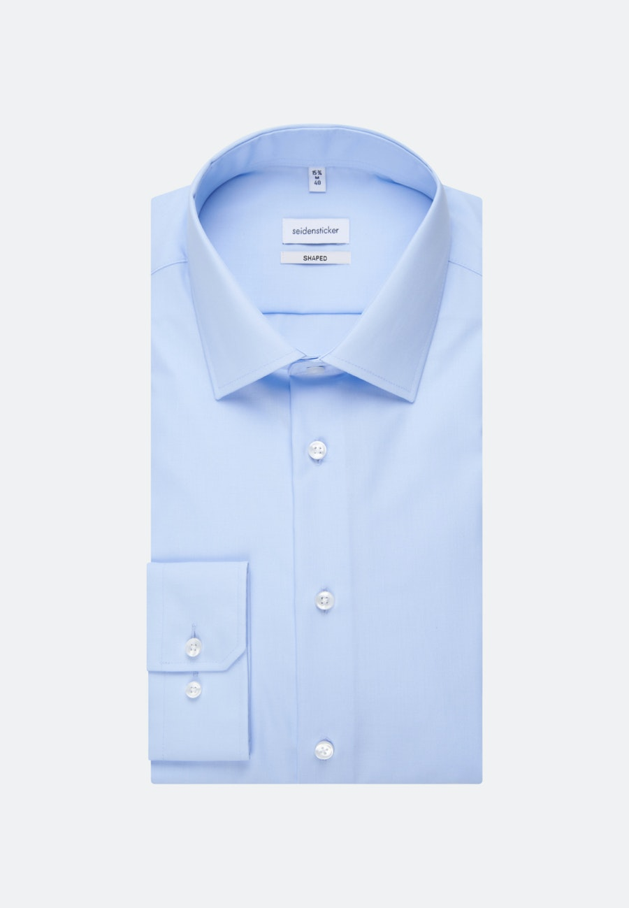 Non-iron Poplin Business Shirt in Shaped with Kent-Collar and extra long sleeve in Medium blue    Seidensticker Onlineshop