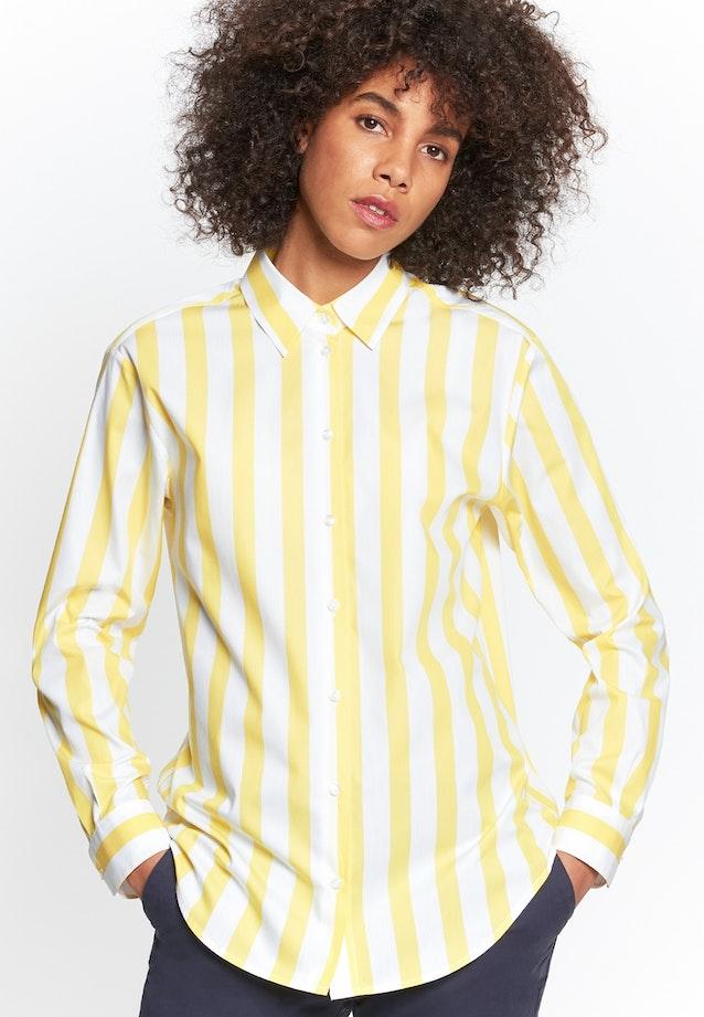 Satin Hemdbluse aus 100% Baumwolle in Gelb    Seidensticker Onlineshop