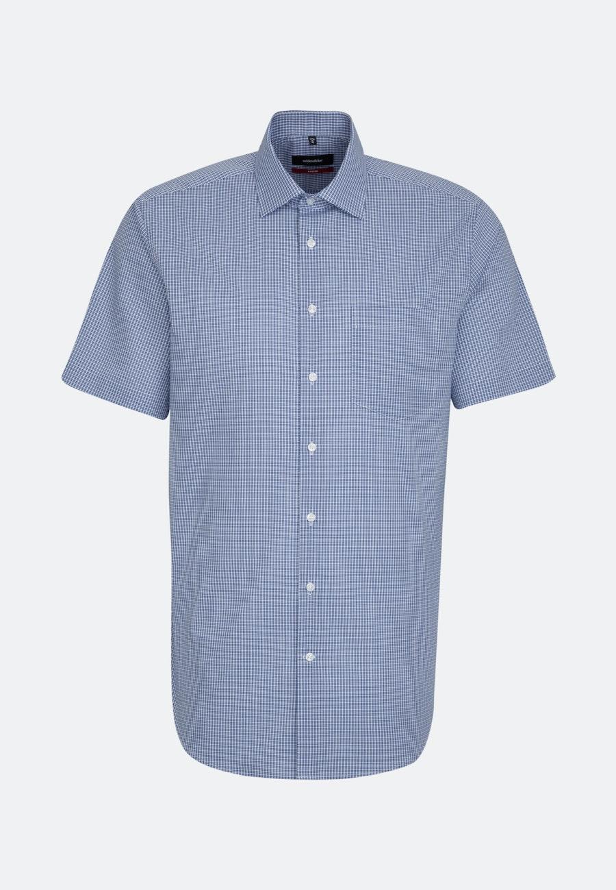 Non-iron Popeline Short sleeve Business Shirt in Regular with Kent-Collar in Medium blue |  Seidensticker Onlineshop