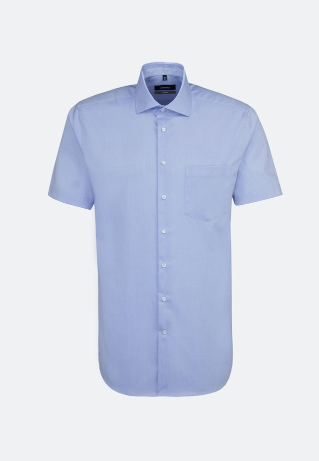 Non-iron Chambray Short sleeve Business Shirt in Comfort with Kent-Collar in Light blue |  Seidensticker Onlineshop