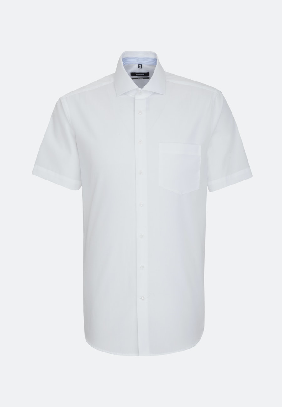 Non-iron Chambray Short sleeve Business Shirt in Comfort with Kent-Collar in White |  Seidensticker Onlineshop