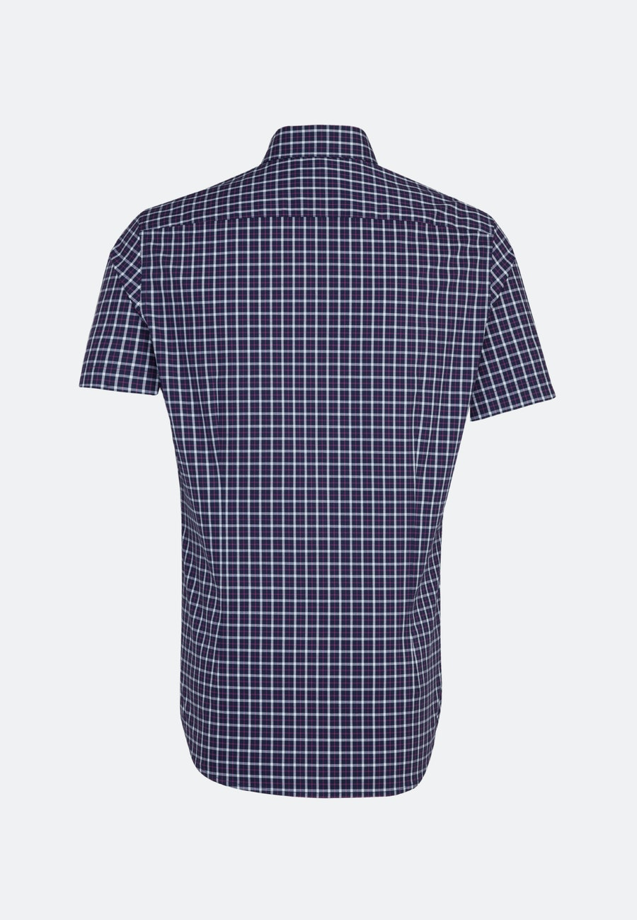 Non-iron Poplin Short sleeve Business Shirt in Shaped with Button-Down-Collar in Dark blue    Seidensticker Onlineshop