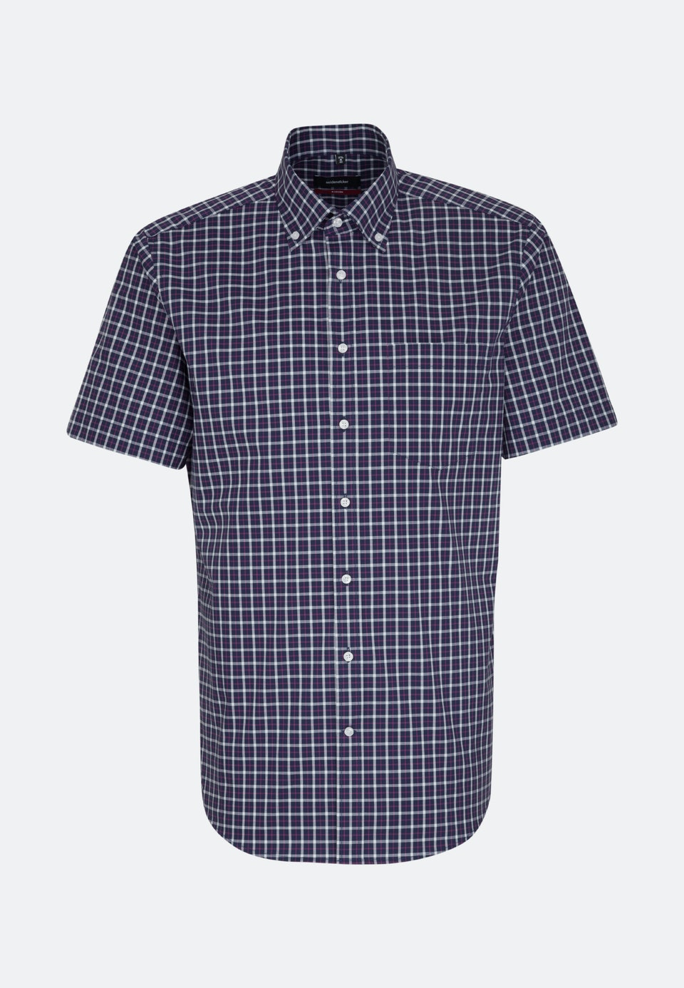 Non-iron Popeline Short sleeve Business Shirt in Regular with Button-Down-Collar in Dark blue |  Seidensticker Onlineshop