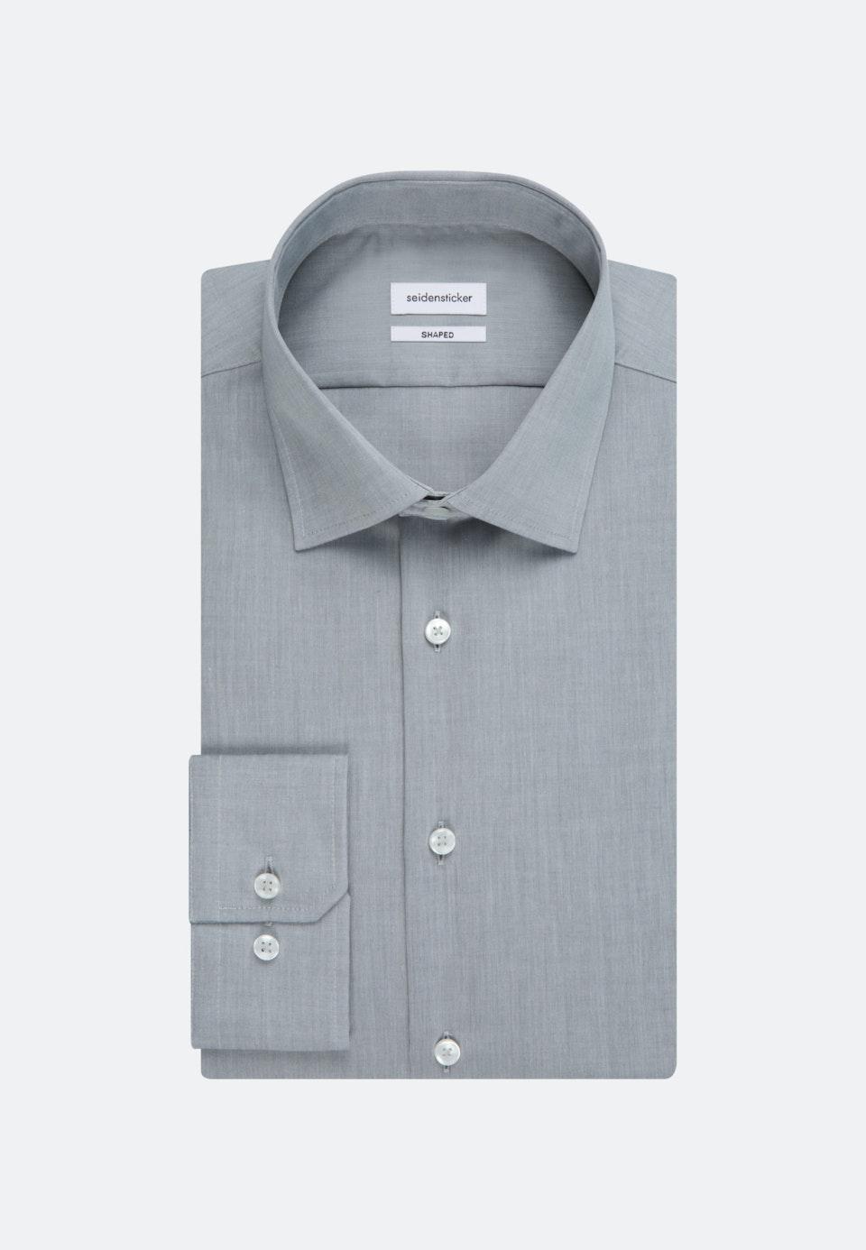 Bügelfreies Chambray Business Hemd in Shaped mit Kentkragen in Grau |  Seidensticker Onlineshop