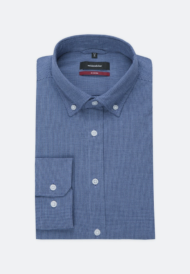 Popeline Business Hemd in Regular mit Button-Down-Kragen in Dunkelblau |  Seidensticker Onlineshop