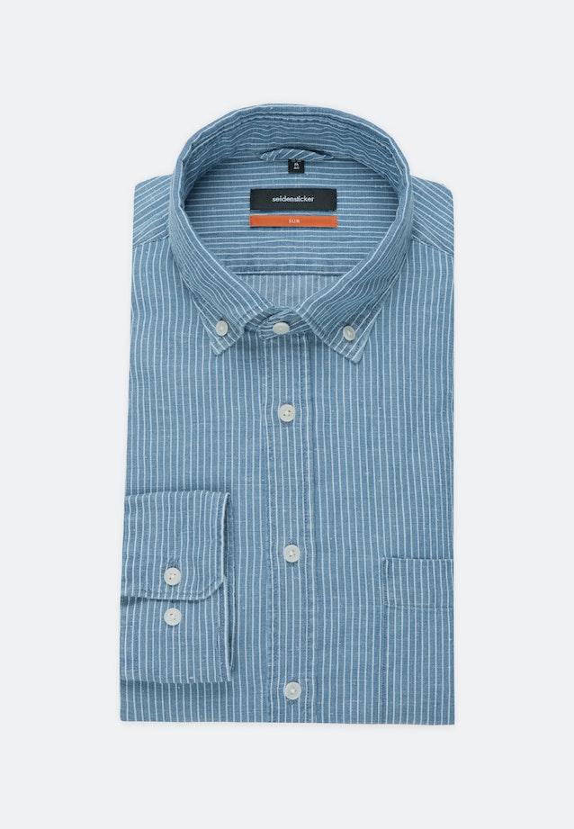 Leinen Business Shirt in Slim with Button-Down-Collar in Medium blue |  Seidensticker Onlineshop