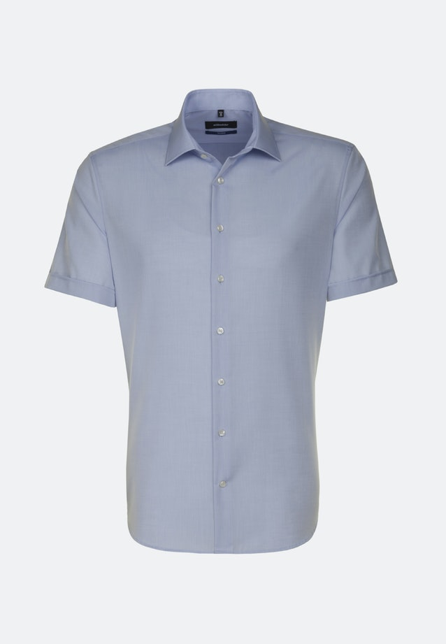 Bügelfreies Chambray Kurzarm Business Hemd in Shaped mit Kentkragen in Mittelblau |  Seidensticker Onlineshop