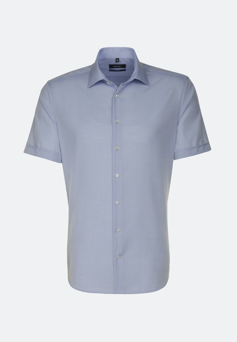 Non-iron Chambray Short sleeve Business Shirt in Shaped with Kent-Collar in Medium blue |  Seidensticker Onlineshop