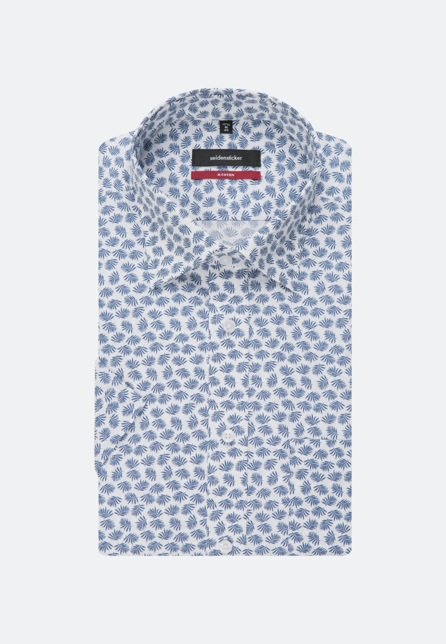 Bügelleichtes Popeline Kurzarm Business Hemd in Regular mit Covered-Button-Down-Kragen in Mittelblau |  Seidensticker Onlineshop