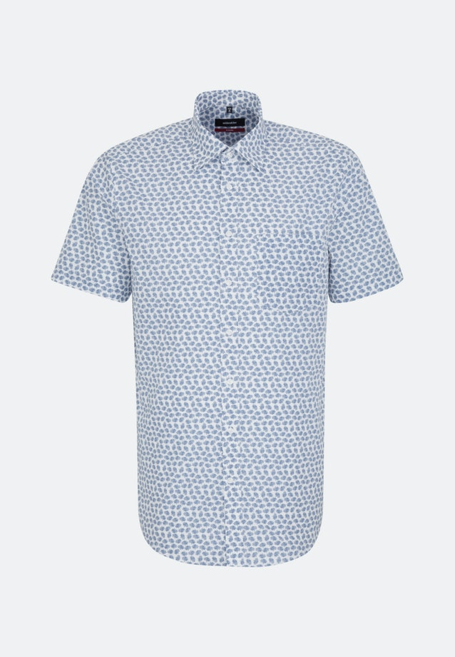 Easy-iron Popeline Short sleeve Business Shirt in Regular with Covered-Button-Down-Collar in Medium blue |  Seidensticker Onlineshop