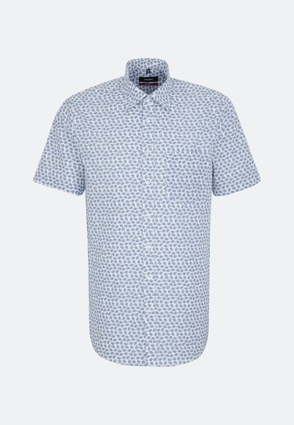 Popeline Kurzarm Business Hemd in Regular mit Covered-Button-Down-Kragen in Mittelblau |  Seidensticker Onlineshop
