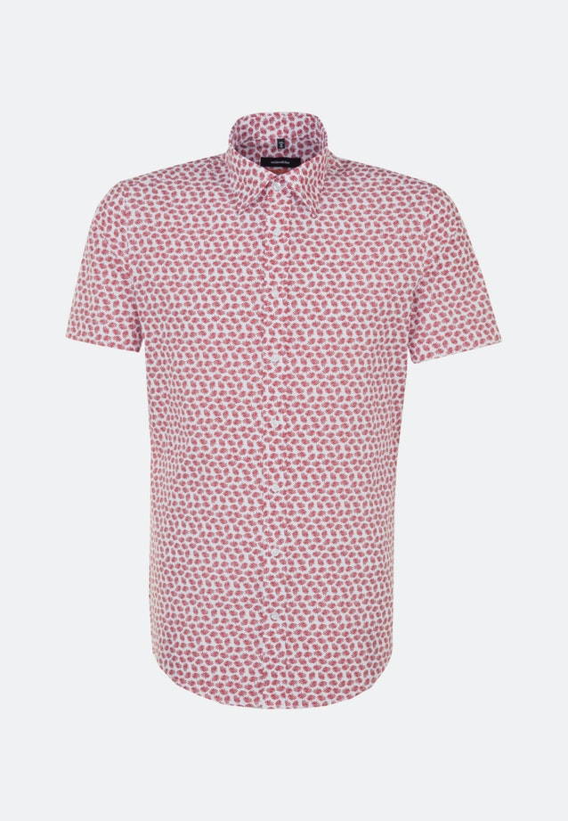 Easy-iron Popeline Short sleeve Business Shirt in Slim with Covered-Button-Down-Collar in Red |  Seidensticker Onlineshop