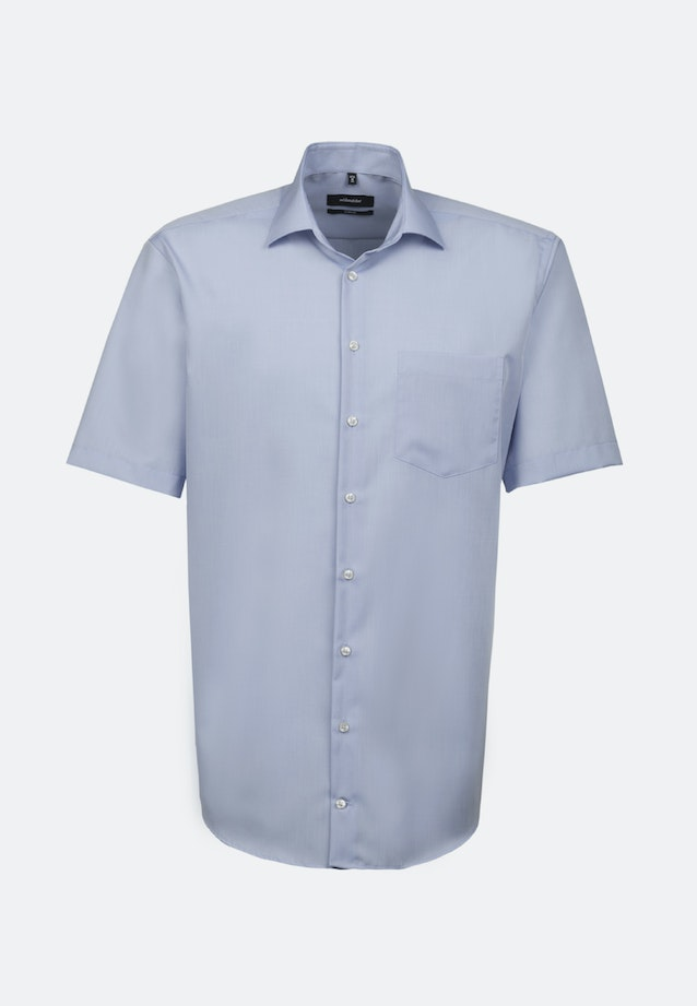 Non-iron Chambray Short sleeve Business Shirt in Comfort with Kent-Collar in Medium blue |  Seidensticker Onlineshop