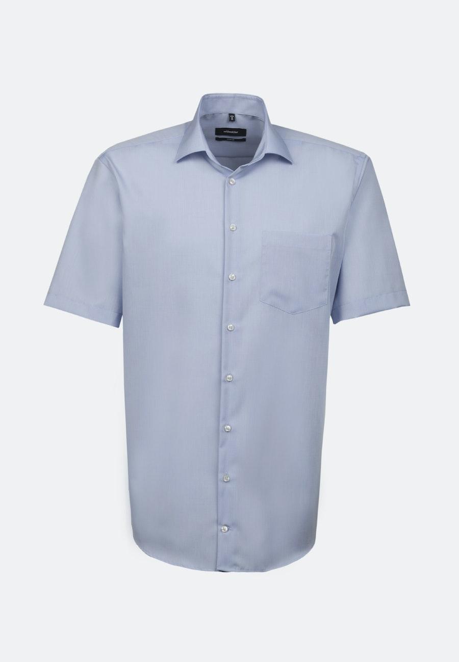 Bügelfreies Chambray Kurzarm Business Hemd in Comfort mit Kentkragen in Mittelblau |  Seidensticker Onlineshop