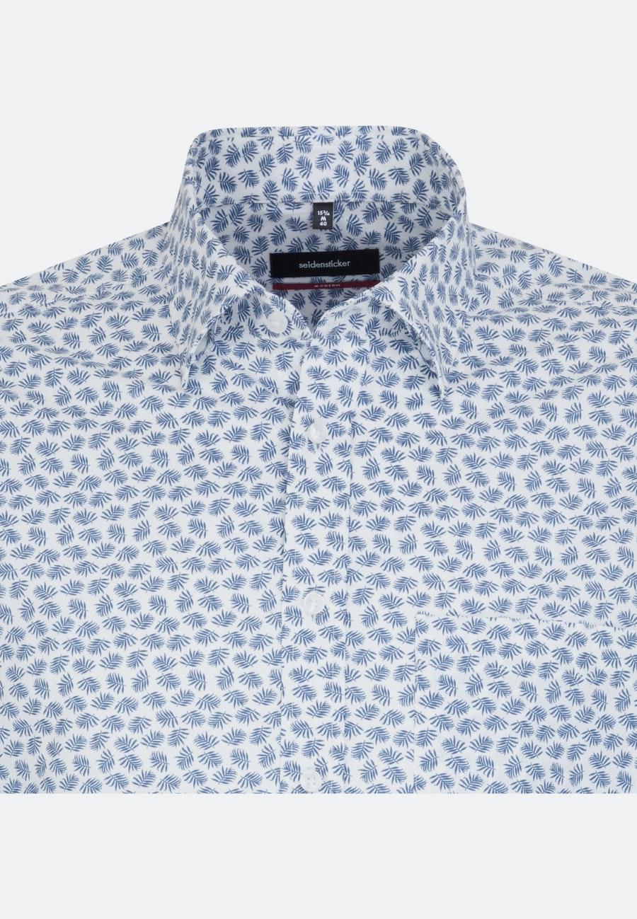 Bügelleichtes Popeline Business Hemd in Regular mit Covered-Button-Down-Kragen in Mittelblau |  Seidensticker Onlineshop