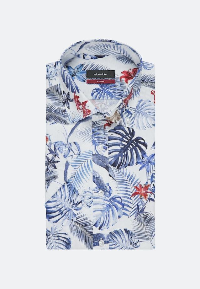 Bügelleichtes Popeline Kurzarm Business Hemd in Regular mit Button-Down-Kragen in Mittelblau |  Seidensticker Onlineshop