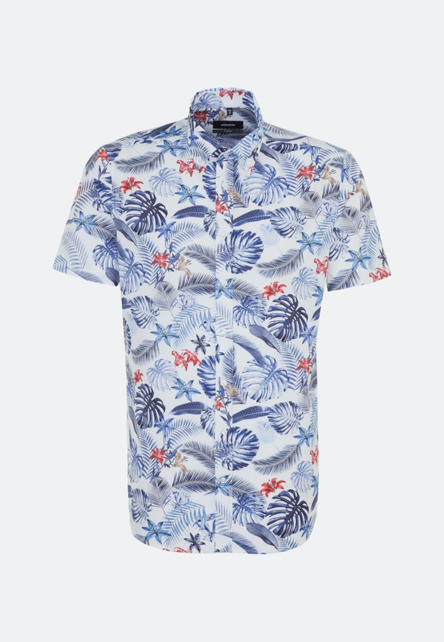 Easy-iron Poplin Short sleeve Business Shirt in Comfort with Button-Down-Collar in Medium blue |  Seidensticker Onlineshop