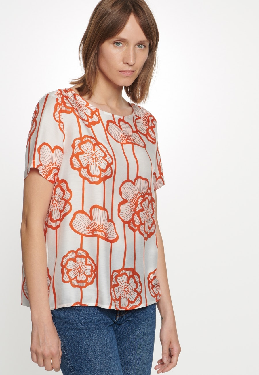 Kurzarm Voile Shirtbluse aus Seidenmischung in Orange |  Seidensticker Onlineshop