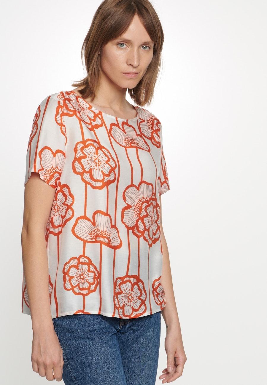 Kurzarm Voile Shirtbluse aus Seidenmischung in Orange    Seidensticker Onlineshop