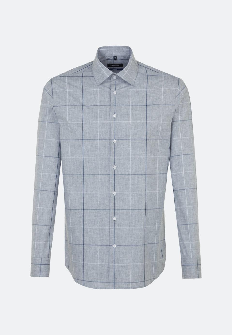 Bügelleichtes Melange Garne Business Hemd in Shaped mit Kentkragen in Grau    Seidensticker Onlineshop