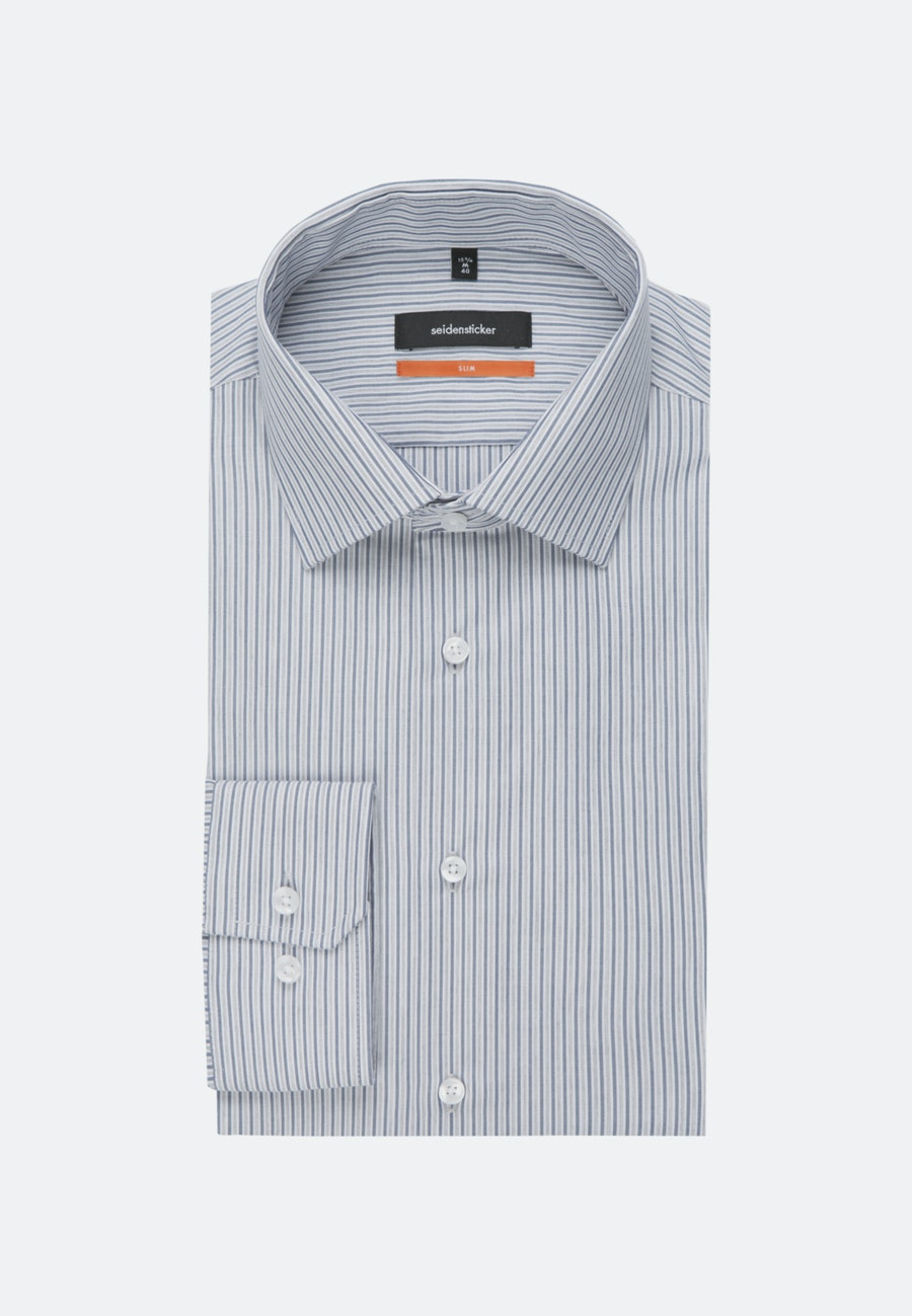 Easy-iron Popeline Business Shirt in Slim with Kent-Collar in Medium blue |  Seidensticker Onlineshop
