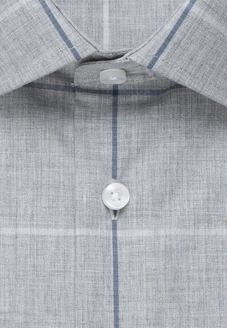 Bügelleichtes Melange Garne Business Hemd in Slim mit Kentkragen in Grau    Seidensticker Onlineshop