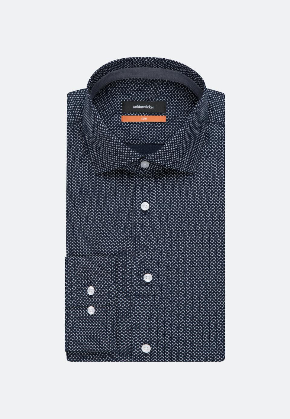 Bügelleichtes Popeline Business Hemd in Slim mit Kentkragen in Dunkelblau    Seidensticker Onlineshop