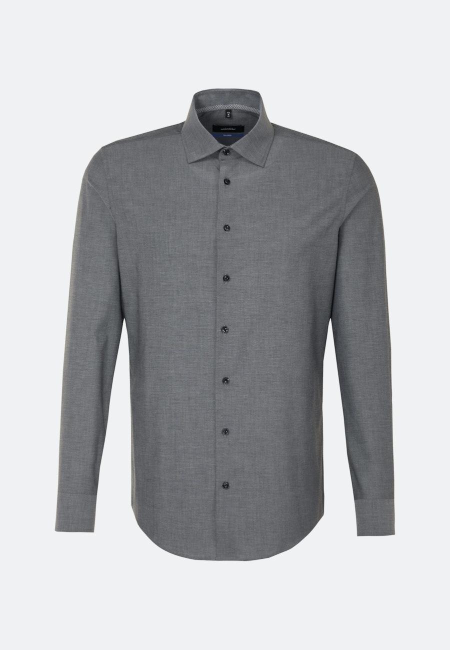 Bügelfreies Chambray Business Hemd in Shaped mit Kentkragen in Grau    Seidensticker Onlineshop