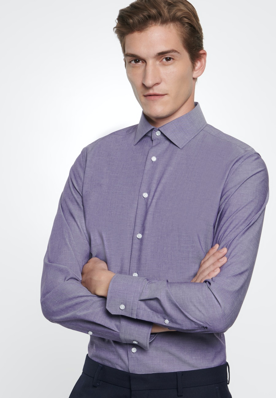 Non-iron Chambray Business Shirt in Shaped with Kent-Collar in Purple |  Seidensticker Onlineshop