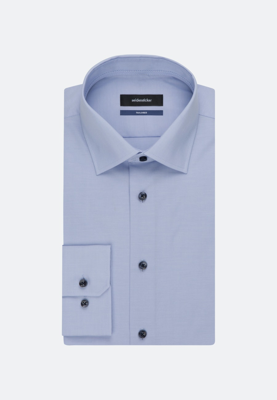 Non-iron Chambray Business Shirt in Shaped with Kent-Collar in Light blue    Seidensticker Onlineshop