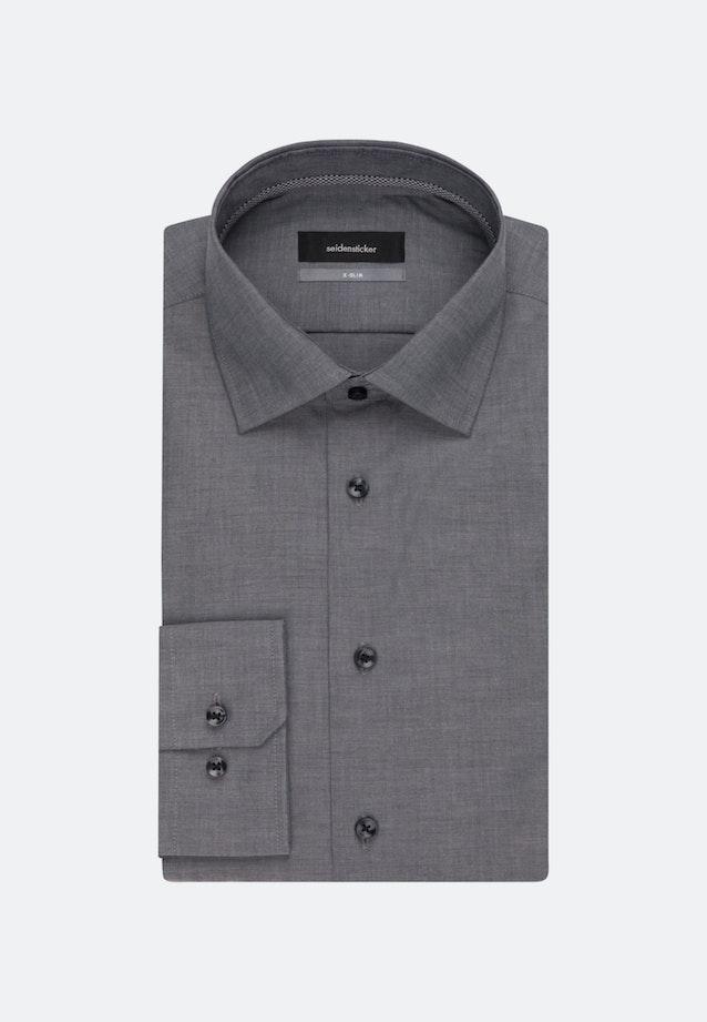 Easy-iron Poplin Business Shirt in X-Slim with Kent-Collar in Grey    Seidensticker Onlineshop